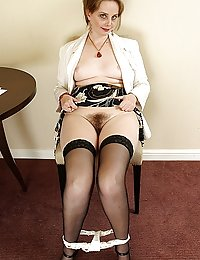 Lewd mommy fits on her red garter while luring a guy into hot backdoor work