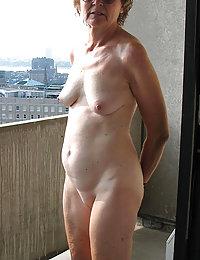 Beautiful mature chubby posing in white stockings