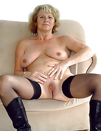 Blonde Mom with See-through Fetish Clothes and Leather Boots Opening Her Legs for a Nice Close-up Pussy View